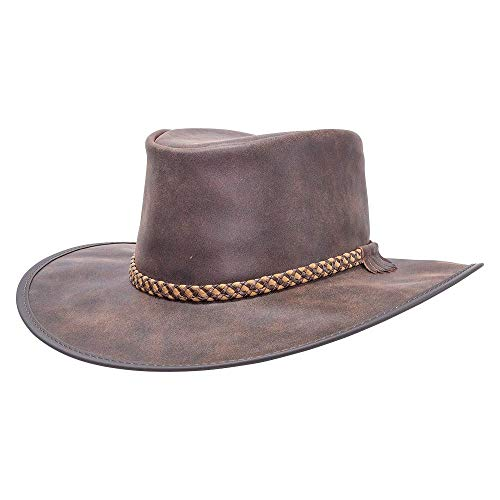 American Hat Makers Crusher by American Outback Leather Hat, Bomber Rust - Large ()