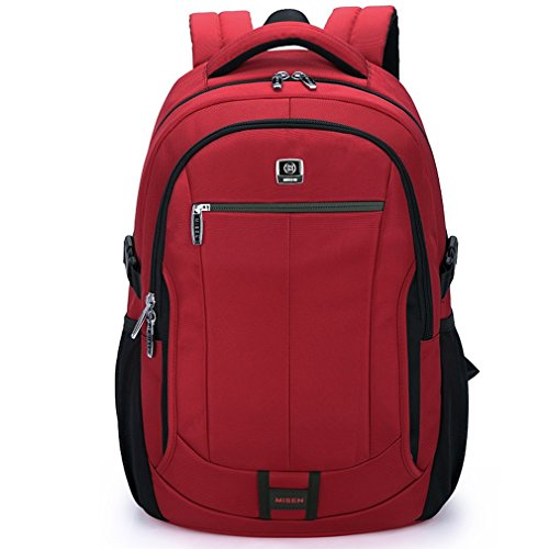 15.6 Inch Unisex 1680D Oxford Waterproof Resistant Backpack Laptop Tablet Briefcase for Macbook Pro Macbook Air Ultrabooks (15.6inch, Red)