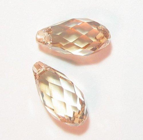 2 pcs Swarovski Crystal Teardrop 6010 Briolette Pendant Charm Golden Shadow 17mm / Findings / Crystallized Element