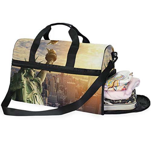 Sports Bag for Men Large The Statue Of Liberty And New York City Skyline Mens Overnight Bag with Shoe Compartment for Women Handbag (Best Overnight Hikes In New York)