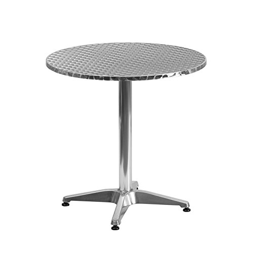 27.5'' Round Aluminum Indoor-Outdoor Restaurant Table with Base
