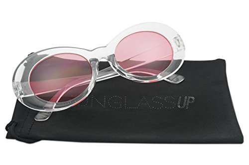 Oval Translucent Clout Goggles Frame Retro Color Transparent Lens Sun Glasses (Transparent, - Transparent Sunglasses
