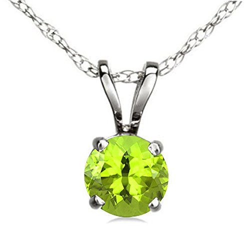 (Dazzlingrock Collection 10K 7 mm Round Cut Peridot Ladies Solitaire Pendant (Silver Chain Included), White Gold)