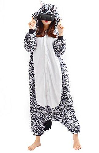 Samgu Unisex Adult Animal Pyjama Cosplay Tier Kostüm Nachtwäsche Overall Jumpsuits Zebra Zebra