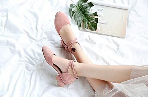 KOKQSX rosa solo chiatte e retro scarpe baotou basso wild 3cm trentaquattro qrgwWBq1n