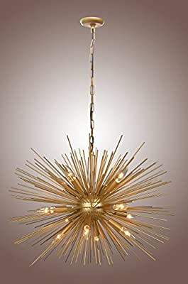 Golden STARBURST Chandelier Sputnik Lamp 12 Light Mid Century
