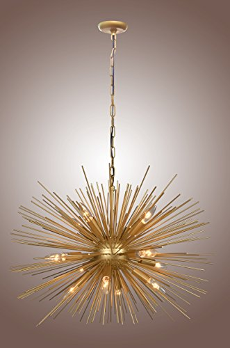 Golden STARBURST Chandelier Sputnik Lamp 12 Light Mid Cen...