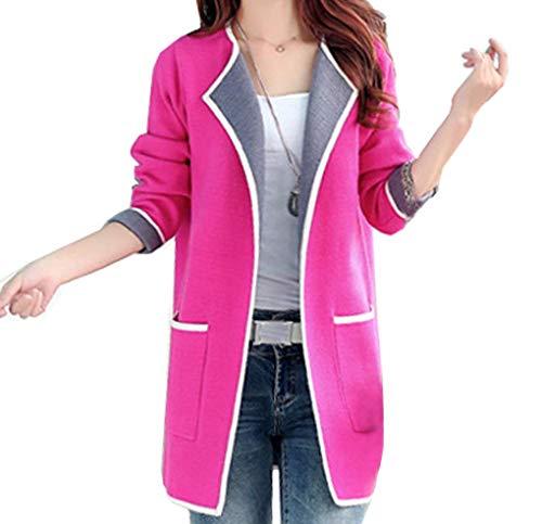 Qinni-shop Women Pink Rose Red Gray Long Loose Cardigan Sweater Jacket (XL, Rose ()