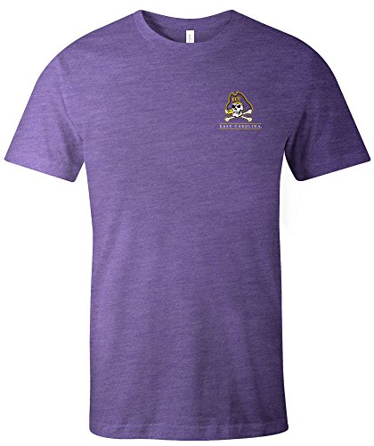Garment Short Sleeve Washed T-shirt (NCAA East Carolina Pirates Adult NCAA Simple Mascot Short sleeve Triblend T-Shirt,Medium,Purple)