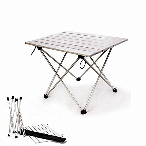 Roll Up Portable Camping Table for BBQ Cooking Games and Tent,Lightweight Aluminum Outdoor Compact Design Folding Picnic Table,EDeals,Large,Small,Silver (silver, Small)