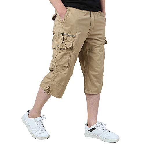 Ivnfout Men's Cargo Shorts Cropped Pants Baggy Wide Fit Multi-Pocket Knee-Length Capri Shorts(1219-Khaki-XL) Size 36