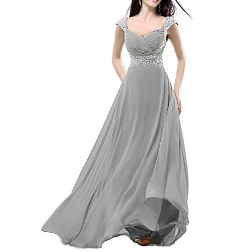 Lungo In Eleganti Grey Sera Eventi Abito Silver Chiffon Da Cerimonie Donna Balllily Per Ed qwB1RIT