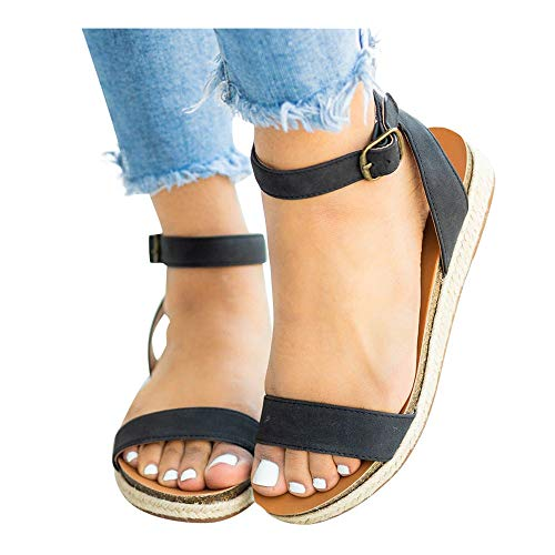 Women's Leopard Print Flats Open Toe Ankle Strap Buckle Sandals Thick-Soled Cork Slippers (Black -2, - Bow Black Platform Pu