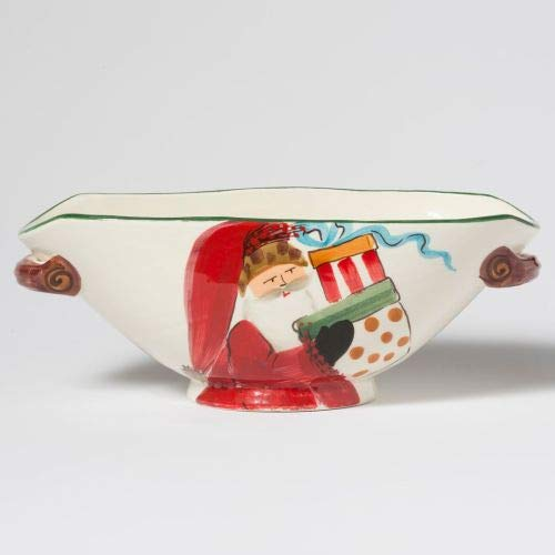 (Vietri Old St. Nick Handled Oval Bowl, Santa Bearing Gifts)