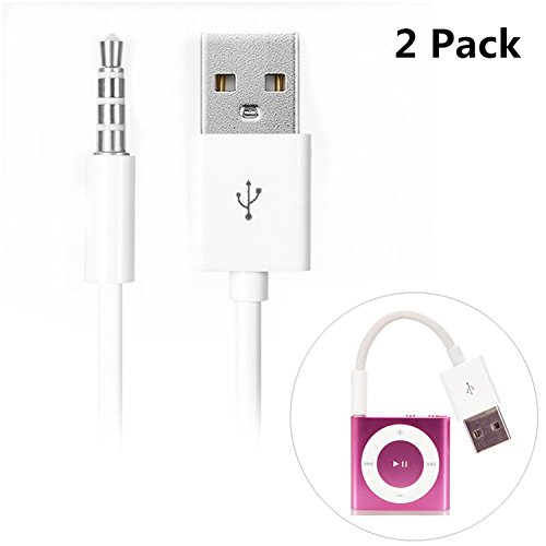iAbler iPod Shuffle Cable, 2 Pack 3.5mm Jack/Plug to USB USB Power Charger Sync Data Transfer Cable for iPod Shuffle 3rd 4th 5th ()