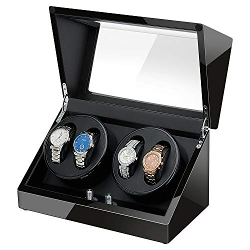 Automatic Watch Winder, Sepano Quad Automatic Mechanical Watch Winder for 4 Watches,Japanese Mabuchi Motor Rotator (Black+Black)