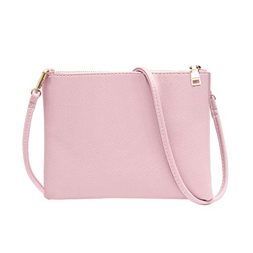 Crossbody Bag for Women, Small Shoulder Purses and Handbags Lightweight PU Leather Wallet with Detachable - Body Pink Cross