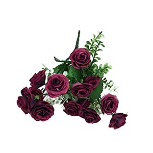 Qsbai 1 Bouquet 5 Branches 15 Heads Artificial Rose Wedding Home Decor Faux Silk Flower - Wine Red 24
