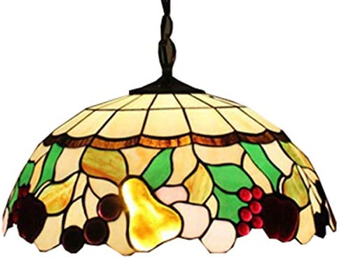 LITFAD Tiffany Style LED Pendant Lighting 18 Wide Ceiling Fixture with Various Fruit Pattern Glass Shade Multi-Colored Country Style 2 Lights Ceiling Hanging Chandelier for Dining Room Restaurant