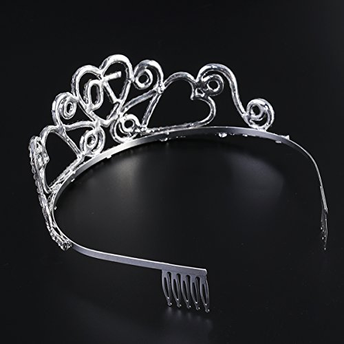 Frcolor Birthday Crowns Rhinestone Birthday Party Tiara with Hair Combs for Mother's 70th Birthday Party by Frcolor (Image #3)