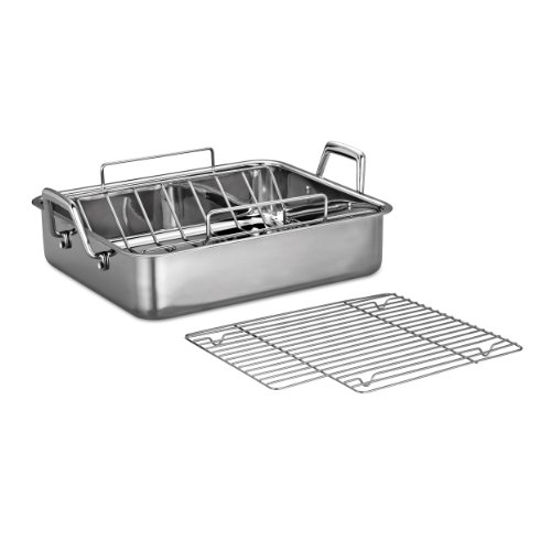 Tramontina 80203/006DS Gourmet Prima 16.5-Inch Deep Rectangular Roasting Pan with Basting Grill and V-Rack, Large, Stainless Steel (Removable Roasting Pan compare prices)
