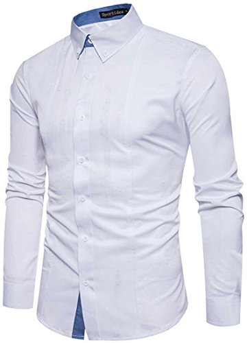 JZA267 Casual Tops Long JZA262 Men's Button Shirts Dress Sleeve Sportides White Down qwvCR