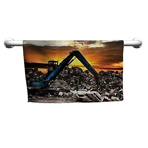 warmfamily Industrial Decor Collection Quick Dry TowelCar Recycling to The Dump Dramatic Scene at The Sunset Crane Junkyard ImageW19 x L19 Orange Navy Blue Ivory