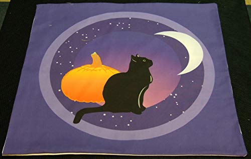 Altar Cloth or Tarot Cloth - Black Cat and the Moon -
