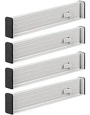 mDesign - Ladeverdeler in 2-delige set - lade-organizer - uitschuifbaar/nuttig/hoogwaardige kwaliteit - uiteinden met beschermd schuimrubber - keukenaccessoires - steen