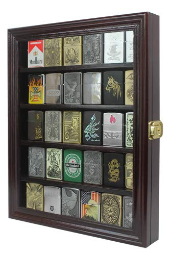 - Lockable Cigarette/Sport Lighter Display Case Wall Cabinet Shadow Box LC30 (Mahogany)