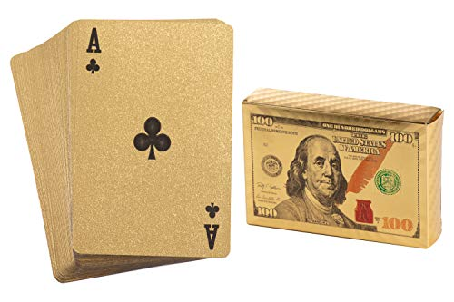 Juvale Gold Playing Cards - 2 Standard Decks, Waterproof Gold Foil Plastic Poker Cards, Hundred Dollar Cash Bill Design, Luxury Card Game with Gift ()