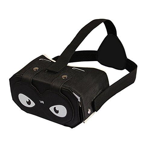Julyfox 4.05oz Lightweight PU leather Foldable DIY VR Headset V2 Virtual Reality Box 3D Glass For 4-6 inch Smartphones?Black?
