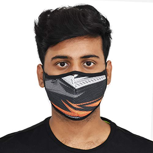 LYNIX Printed Mesh mask | Reusable protection mask | unisex |5 Layer with melt blown filtration | (RACING OB)