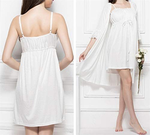 Mmllse White Robe Knit Sling De Dos Lace 2018 Pijama Femenino Sexy Verano Piezas 780q47r