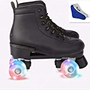 XUDREZ Roller Skates for Women Men High-top PU Leather Roller Skates Shiny Four Wheels Roller Derby Skates Whi