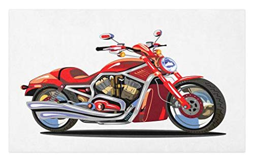Freedom Engine (Lunarable Motorcycle Doormat, Super Sexy Motorbike with Vivid Color Properties Winged Engine Machine Freedom, Decorative Polyester Floor Mat with Non-Skid Backing, 30 W X 18 L inches, Red Silver)