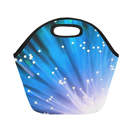 Insulated Neoprene Lunch Bag Technology Fiber-optic Light Cable Network Large Size Reusable Thermal Thick Lunch Tote Bags For Lunch Boxes For Outdoors,work, Office, School