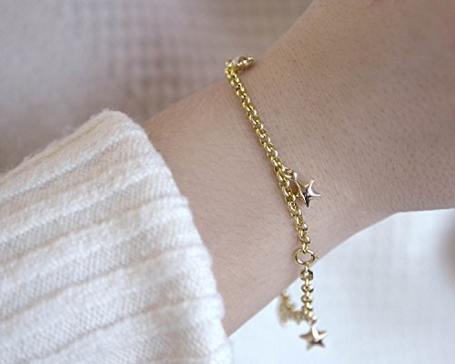 14 K gold charm bracelet 7.5'' by Unknown