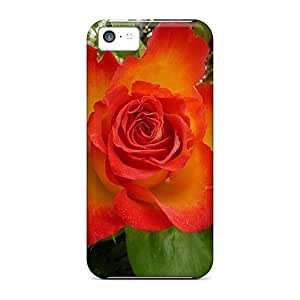 MMZ DIY PHONE CASEFashion Protective Fiery Rose Bloom Case Cover For ipod touch 5