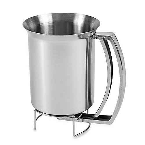 Professional Grade Stainless Steel Pancake Batter Dispenser with Lid - Great for Baking Cupcakes, Muffins, Cooking Crepes and Waffles