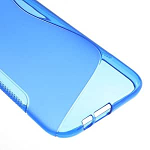 JUJEO S Shape TPU Gel Cover for HTC One 2 M8 - Non-Retail Packaging - Blue