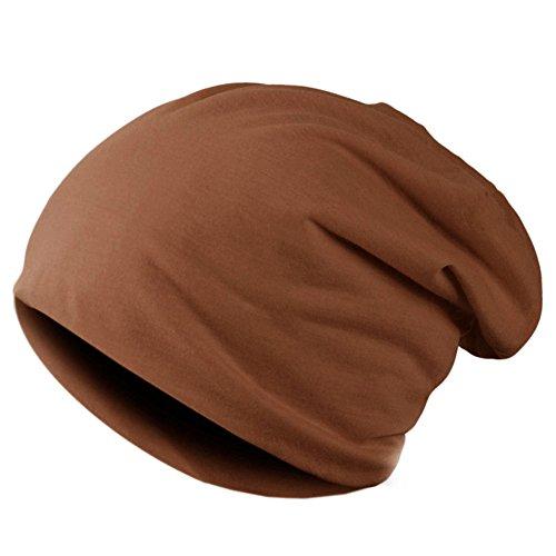 (Hatrita-J Spring Women Men Unisex Knitted Winter Cap Casual Beanies Solid Color Hip-hop Snap Slouch Bonnet beanie Hat,Light Brown)