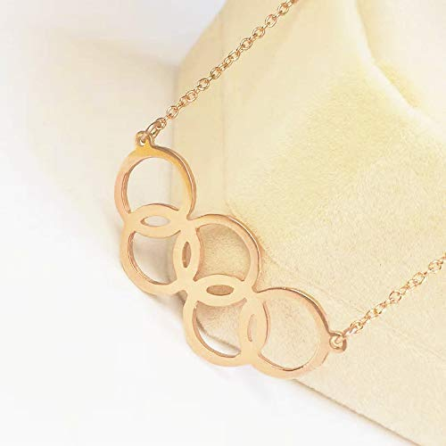 (Custom Rose Gold Silver Necklace, Olympic 5 Ring Necklace, Rio Olympic 5 Ring Logo, Rio Jewelry, 2016 Rio Olympic Game Logo, Silver Sports Necklace)