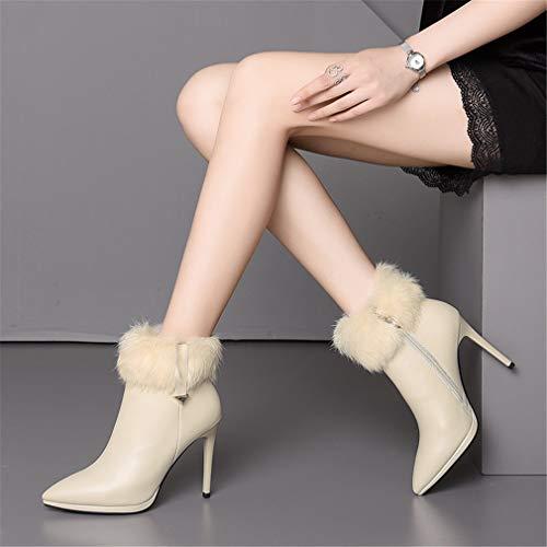 Botines Zapatos Para Otoño Aguja Beige De Elegantes Acentuados Yan Invierno Cuero Segundo Negro Vestir Tacón Alto Mujer tqHwTgdv
