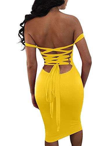 GOBLES Women's Sexy Off The Shoulder Bandage Sleeveless Midi Club Dress Yellow