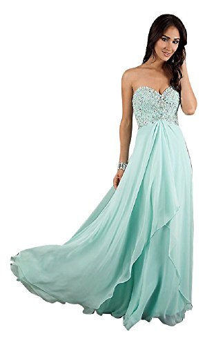 Abendkleider Spitze Träger mit Hellblau Emily Chiffon Beauty lange qxtYwAg8v