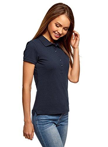 Organic Pique Polo Shirt - oodji Ultra Women's Basic Pique Polo Shirt, Blue, US 2 / EU 36 / XS