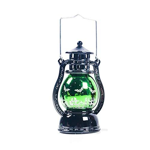 CVMbro2X Halloween Vintage LED Witch Bat Print Lantern Hanging Light Lamp Parties Decor - Bat -