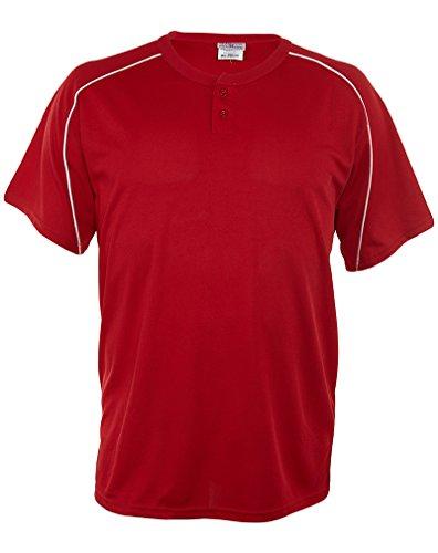 (Teamwork Adult Closer 2-Button Short Sleeves Cool Mesh Jersey Mens Style: 1271P-25 SCR/WHT Size: XXL)
