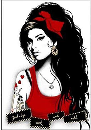Bordado de diamantes 5D Diamante Pintura Amy Winehouse Cantante Punto de cruz Imagen de diamantes de imitación Diamante Mosaico Vintage Wg1529,40x55cm
